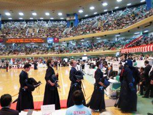 NL's herenteam in het Budokan op WK Tokyo, 2015